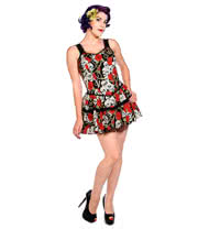 Banned Skull & Roses Mini Dress (Multi-Coloured)