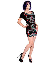 Banned Skull T Shirt Dress (Black/Red)