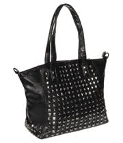 Blue Banana Square Studs Tote Bag (Black)