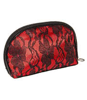 Blue Banana Lace Make Up Bag (Black/Red)