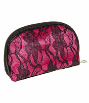 Blue Banana Lace Make Up Bag (Black/Pink)
