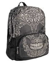 Blue Banana Sugar Skull Full Print Backpack (Black)