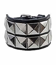 Blue Banana 2 Row Silver Spike Wristband (Black)