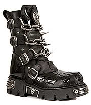 New Rock Boots Chain Skull & Flames Mid Boot M.727-S1(Black)
