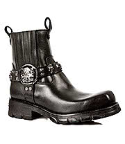New Rock Boots Skull Buckle Pull On Ankle Biker Boots M.7621-S1 (Black)