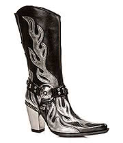 New Rock Boots Silver Heel & Flames Boots M.7901-S2