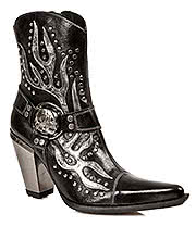 New Rock Boots Silver Heels & Flames Studded Ankle Boots M.7919-S1 (BLACK)