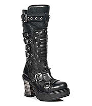 New Rock Boots Buckles Heeled Style M.8353-S1 (Black)