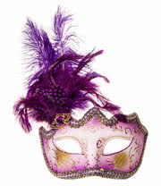 Blue Banana Glitter & Feathers Masquerade Mask (Purple)