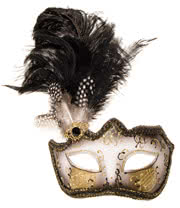 Blue Banana Glitter & Feathers Masquerade Mask (Black)