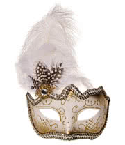 Blue Banana Glitter & Feathers Masquerade Mask (White)