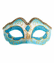 Blue Banana Glitter Masquerade Ball Mask (Blue)