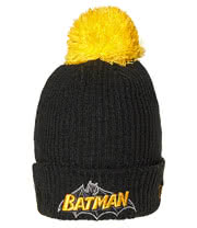 DC Comics Batman Bobble Beanie Hat (Black/Yellow)