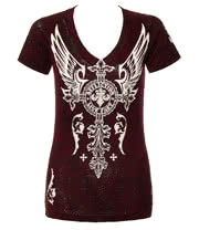 Affliction American Custom Silver Heart Skinny T Shirt (Cranberry)