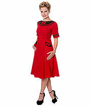 Banned Eliza Bow Dress (Red/Black)
