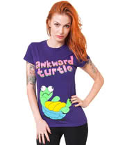 Flip Flop & Fangs Awkward Turtle Skinny T Shirt (Purple)