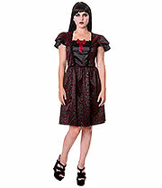 Banned Ivy Cross Steampunk Mini Dress (Burgundy/Black)