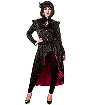 Banned Steampunk Lady Skeleton Cameo Coat (Black/Red)