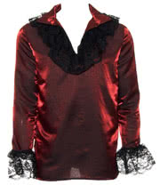 Golden Steampunk Hansel Lace Frill Shirt (Red)