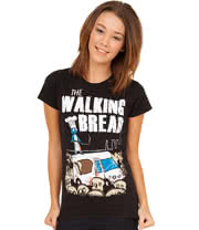 Flip Flop & Fangs Walking Bread Skinny T Shirt (Black)