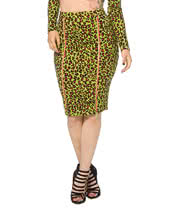 Jawbreaker Leopard Pencil Skirt (Pink/Green)