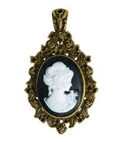 Golden Steampunk Cameo Brooch