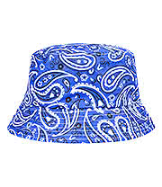 Blue Banana Paisley Canvas Bucket Hat (Blue)