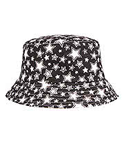 Blue Banana Stars Canvas Bucket Hat (Black/White)