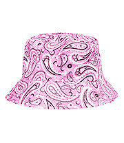 Blue Banana Paisley Canvas Bucket Hat (Baby Pink)