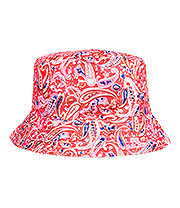 Blue Banana Paisley Canvas Bucket Hat (Bright Pink)