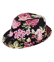 Blue Banana Flower Print Trilby Hat (Black)