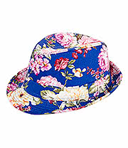 Blue Banana Flowers Trilby Hat (Blue)