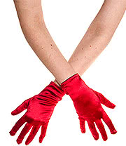 Blue Banana Short Satin Gloves (Red)