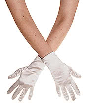 Blue Banana Short Satin Gloves (Ivory)