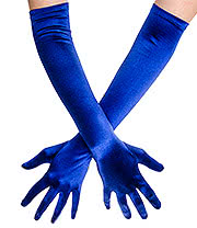 Blue Banana Long Satin Gloves (Blue)