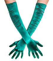 Blue Banana Long Rouched Satin Gloves (Green)