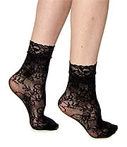 Blue Banana Lace Patern Short Socks (Black)