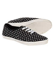 Bleeding Heart Polka Dot Print Canvas Shoes (Black)