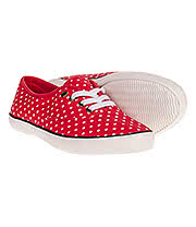 Bleeding Heart Polka Dot Print Canvas Shoes (Red)