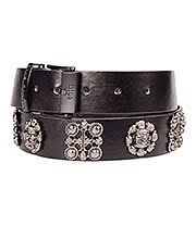 Blue Banana Skull Circle & Cross PU Belt (Black)