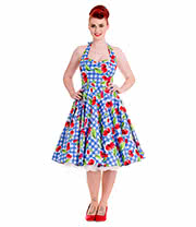 Hell Bunny August 50's Halterneck Dress (Blue)