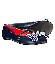 Banned Mary Jane Stripe Bow Ballerina Shoes (Navy/White)