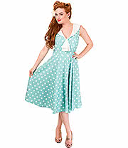 Banned Rival Polka Dress (Mint/White)