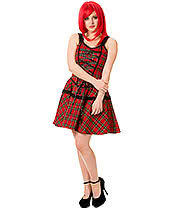 Banned Your Bones Tartan Mini Dress (Red)