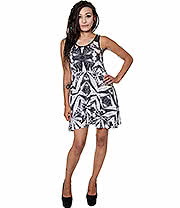 Killstar Space Grass Skater Dress (Black)