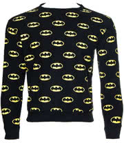DC Comics Batman All Over Sweatshirt (Black/Yellow)