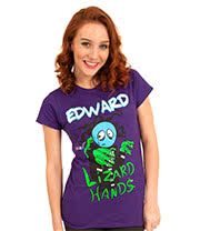 Flip Flop & Fangs Edward Lizard Hands Skinny T Shirt (Purple)