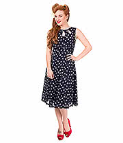 Banned Songbird Heart Polka Dress (Navy/White)