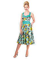 Banned Wanderlust Flamingos Halterneck Dress  (Green)