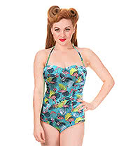 Banned Wanderlust Flamingo Ruched Swimsuit (Green)
